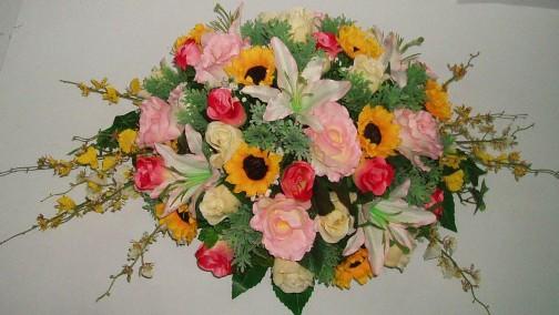 人造圆形平面桌花-平面桌花-人造花-人造盆花-人造